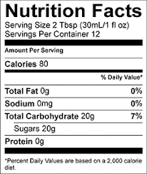 torani syrup nutrition facts