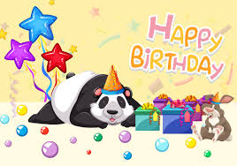 Feliz Cumpleanos Tarjeta Panda Descargar Vectores Gratis