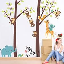 Amazon Com Jungle Animal Tree Elephant Giraffe Monkey Zebra Kids Baby Nursery Beyonds Creative Wall Decals Removable Pvc Wall Stickers Murals Wallpaper Art Decor For Home Walls Ceiling Boys Room Bedroom School Baby