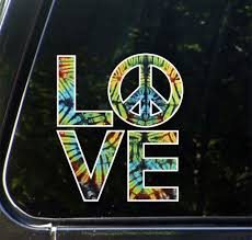The Decal Store Com By Yadda Yadda Design Co Clr Car Love Sculpture Peace Sign In Rainbow Tie Dye Vinyl Car Dec