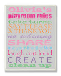Stupell Industries Kids Room Personalization Girl S Typography Playroom Rules Canvas Art Reviews Wayfair