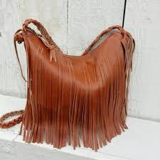 saddle tan leather fringe handbag