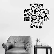 Medical Cross Wall Decal With Health Icons Medicine Study School Interior Decor Hospital Vinyl Window Sticker Art Wallpaper Q448 Wall Stickers Aliexpress