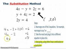 substitution method with 3 variables