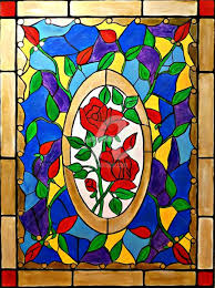 stained glass roses painting by rachel