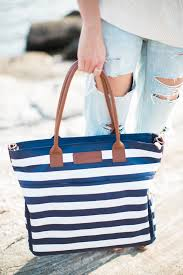 "Sarah Wells ""Abby"" Breast Pump Bag in Navy Stripe • KellyMom.com"