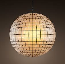 a honeycomb capiz globe light for the