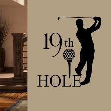 Sports Wall Decal Golf 19th Hole Man Golfer Vinyl Lettering