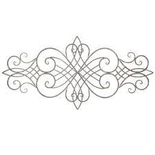 distressed scroll metal wall decor