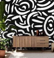 Abstract Black And White Painting Wall Mural Wall Art Eazywallz