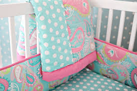 girl baby bedding pixie aqua paisley