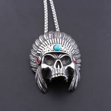 vintage indian skull turquoise necklace