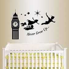 Wall Vinyl Decal Home Decor Art Sticker Silhouette Never Grow Up Quote Phrase Peter Pan Big Ben Fantasy Fly People Stars Kids Nursery Play Room Removable Stylish Mural Unique Design 46