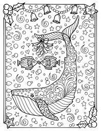Walvis Kerst Kleurplaat Pagina Volwassen Kleurplaten Zee Leven Etsy
