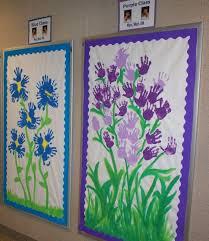 spring flower handprint bulletin board