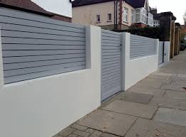 Front Boundary Wall Screen Automated Electronic Gate Installation Grey Wooden Fence Bike Store Modern Garden Desi Modern Fence Design Fence Design Modern Fence