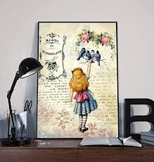 Amazon Com Baby Room Wall Canvas Alice In Wonderland Poster Kids Room Wall Painting Anime Home Decorationhanging Wall Art Child Postern Posters Prints