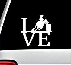 Amazon Com Cowgirl Barrel Racing Horse Love Decal Sticker For Car Window Bg 517 Handmade