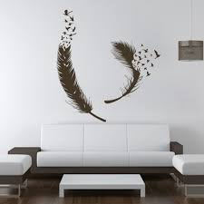 Amazon Com Birds Of A Feather Wall Decal Feather Wall Decals Vinyl Feather Decor Feather Of Bird Wall Art Sticker Home Wall Decor Dark Brown Home Kitchen