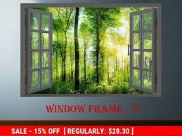 3d Window Forest Landscape Wall Decor Vinyl Poster Nature 3d Window View Wall Decal Window Effect Wall Sticker Prints Poster Window Sticker With Images Landscape Walls Landscape Wall Decor Forest Landscape