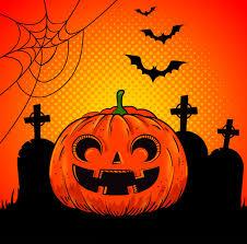 Halloween-pompoen op begraafplaats in pop-artstijl | Gratis Vector