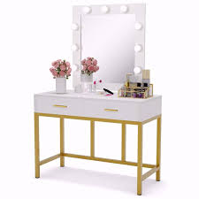 tribesigns vanity table with lighted