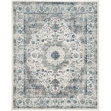 Aleyna Oriental Ivory/Gray Area Rug   Vintage area rugs, Blue area rugs,  Square area rugs