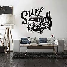 Amazon Com Modern Surf The Wave With Camper Car Old Vintage Auto Car Camper Van Poster Wall Decals Decor Vinyl Sticker Ir3851 Home Kitchen