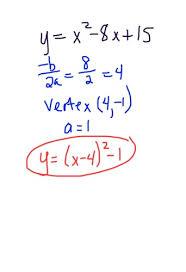standard form to vertex form