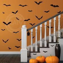Amazon Com Halloween Bats Set Of 28 Vinyl Lettering Decal Home Decor Wall Art Sticker Home Kitchen