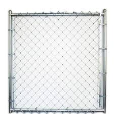 Galvanized Steel Chain Link Fence Walk Thru Gate Common 4 Ft X 7 Ft Actual 3 66 Ft X 7 Ft In The Metal Fence Gates Department At Lowes Com