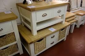 solid oak cream large coffee table