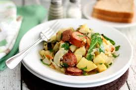 sausage with braised cabbage and potatoes