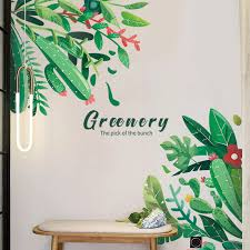 Creative Green Plant Wall Sticker Diy Cactus Flowers Tropical Leaves Wall Stickers Modern Art Vinyl Decal Wall Mural Home Decor Wall Stickers Aliexpress