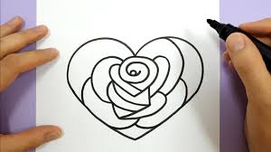 how to draw a rose in a love heart step