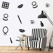 Makeup Set Of 16 Vinyl Art Wall Decals 1 To 4 Each Vinyl Wall Stic Funstyling Com
