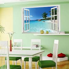 Beach 3d Window View Scenery Wall Sticker Mural Art Decal For Home Decor Diy Tools Wall Stickers Murals