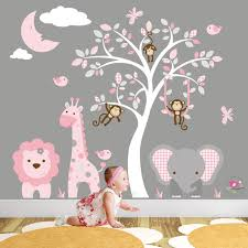 Safari Decal Jungle Wall Stickers Girls Baby Pink And Grey Etsy