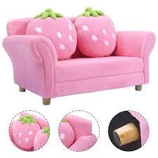 Costway Kids Sofa Strawberry Armrest Chair Lounge Couch W 2 Pillow Children Toddler Pink Walmart Com Walmart Com