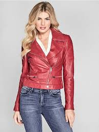 red leather jacket from guess