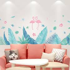 Tropical Green Leaf With Flamingo Wall Decal Living Room Home Decor Big Leaves Wall Sticker Bedroom Mural Creative Greenery Plants Thefuns On Artfire