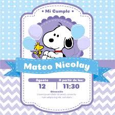 Invitacion Cumpleanos Snoopy Y Bautizoinvitacion Bautizo Matiss