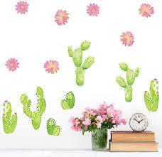 Amazon Com Wall Stickers Murals Cactus Wall Sticker Flower Pot Aloe Wall Sticker Home Living Room Decoration Flower Butterfly Bonsai Wall Decal Diy Mural Poster Kitchen Dining