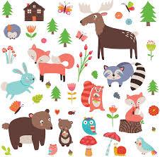 Amazon Com Woodland Animals Decorative Peel Stick Wall Art Sticker Decals For Kids Room Or Nursery Home Kitchen