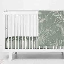 moss color story modern crib bedding in