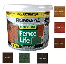 Ronseal 12l One Coat Fence Life Quick Dry Garden Shed Fence Paint All Colours Ebay
