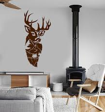 Vinyl Wall Decal Mountain Landscape Deer Head Forest Animal Stickers Wallstickers4you