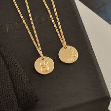 solid gold disc initial necklace
