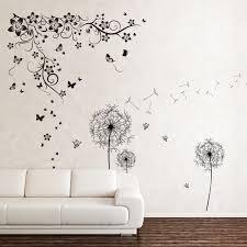 Shop Walplus Wall Sticker New Huge Butterfly Vine Black Dandelion Flower Overstock 32007187