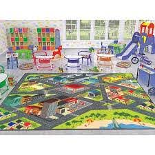 Kc Cubs Multi Color Kids Children Bedroom Playroom Road Map Educational Learning And Game 8 Ft X 10 Ft Area Rug Kcp010002 8x10 The Home Depot
